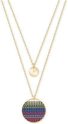 Swarovski Gold-Tone Multicolor Crystal Disc Double-Layer Pendant Necklace