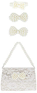 Monsoon Pearl Bow Bag, Clip & Bracelet Set