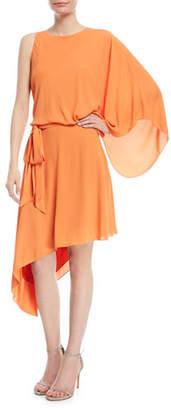 Halston Asymmetric Flowy Cowl-Back Dress