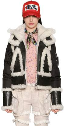 DSQUARED2 Nylon, Shearling & Leather Down Jacket