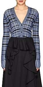 Proenza Schouler Women's Striped Silk-Blend Crop Cardigan - Blue, White