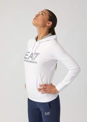 Emporio Armani Ea7 Cotton Hooded Sweatshirt With Crystal Logo