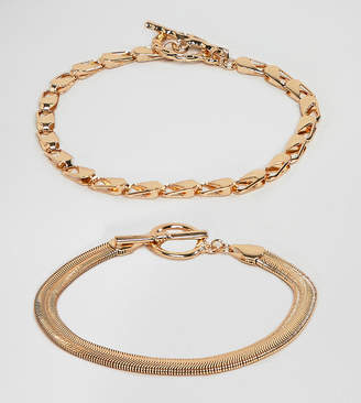 Asos DESIGN Curve pack of 2 bracelets with heavyweight chain and flat rope chain gold