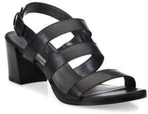 Stuart Weitzman Milanese Strappy Leather Block Heel Slingbacks