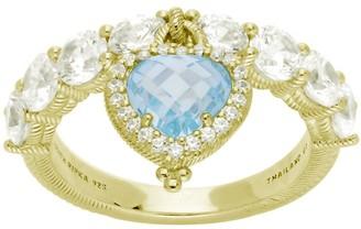 Judith Ripka 14K Gold-Clad Heart Dangle Diamonique Ring