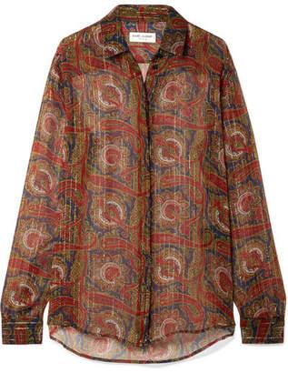 Saint Laurent Printed Silk-blend Chiffon Shirt - Red