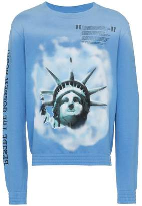Off-White Liberty print crew neck cotton sweatshirt