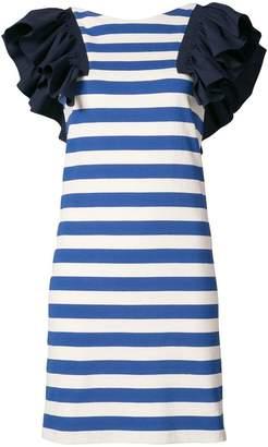 Sea ruffle trim striped dress