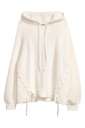 H&M H & M+ Knit Hooded Sweater - White - Women