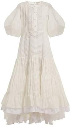 Natasha Zinko Broderie anglaise puff-sleeved cotton dress