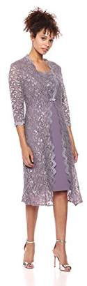 Alex Evenings Women's Elongated Lace Jacket with Short Empire Waist Dress (Petite and Regular Sizes)