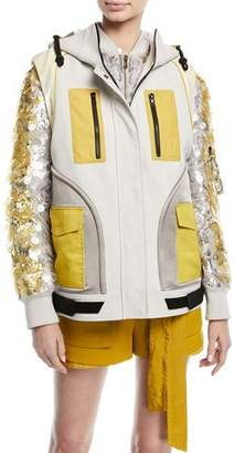 Valentino Zip-Front Colorblock Hip-Length Cotton Vest
