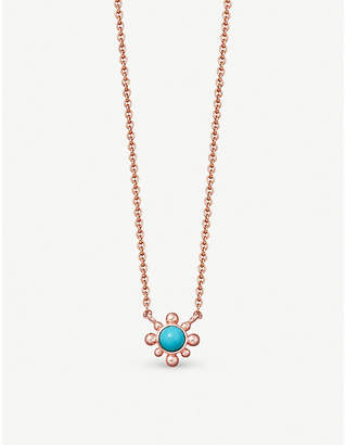 Astley Clarke Floris mini 18ct rose gold-plated turquoise stone pendant necklace