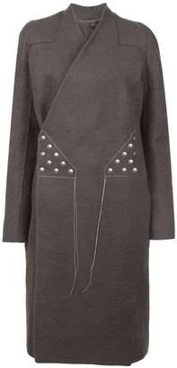 Rick Owens stitching wrap-around coat