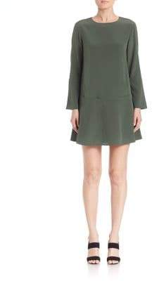 Tibi Drop-Waist Bell-Sleeve Silk Dress