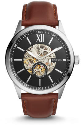 Fossil Flynn Automatic Brown Leather Watch