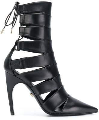 pointed lace-up boots