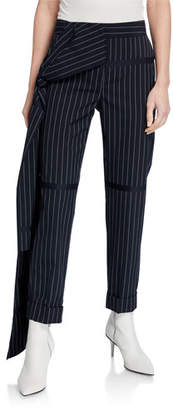Hellessy Okeefe Pinstriped Trousers with Drape Detail