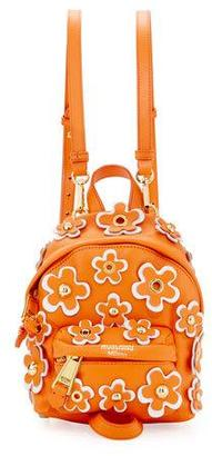 Moschino Flower Applique Small Backpack, Orange $1,150 thestylecure.com