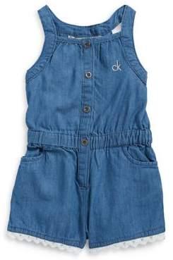 Calvin Klein Jeans Little Girl's Lace Denim Romper