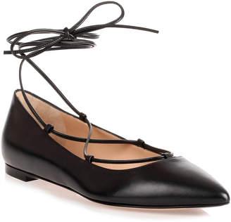 Gianvito Rossi Black leather lace up Femi' Flat