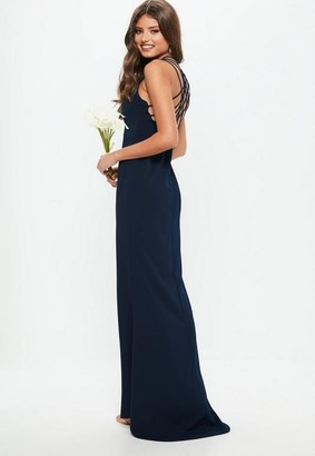 Missguided Bridesmaid Navy 90s Neck Strappy Fishtail Maxi Dress, Navy