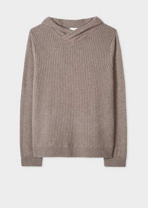 Paul Smith Men's Taupe Ribbed Cashmere Hooded Sweater