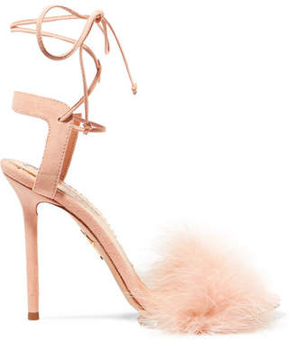Charlotte Olympia Salsa Feather-trimmed Suede Sandals - Baby pink
