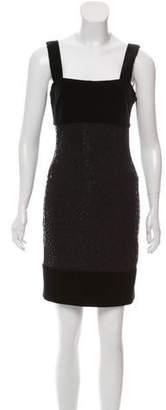 St. John Velvet-Trimmed Embellished Dress