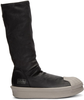 Rick Owens Black adidas Edition Mastodon Stretch Boot High-Top Sneakers $1,435 thestylecure.com