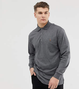 Big & Tall pima cotton long sleeve polo player logo in charcoal marl