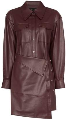 Low Classic faux leather apron-front shirt dress