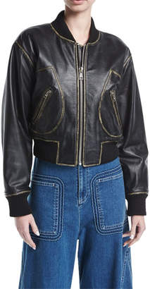 See by Chloe Zip-Front Long-Sleeve Leather Jacket