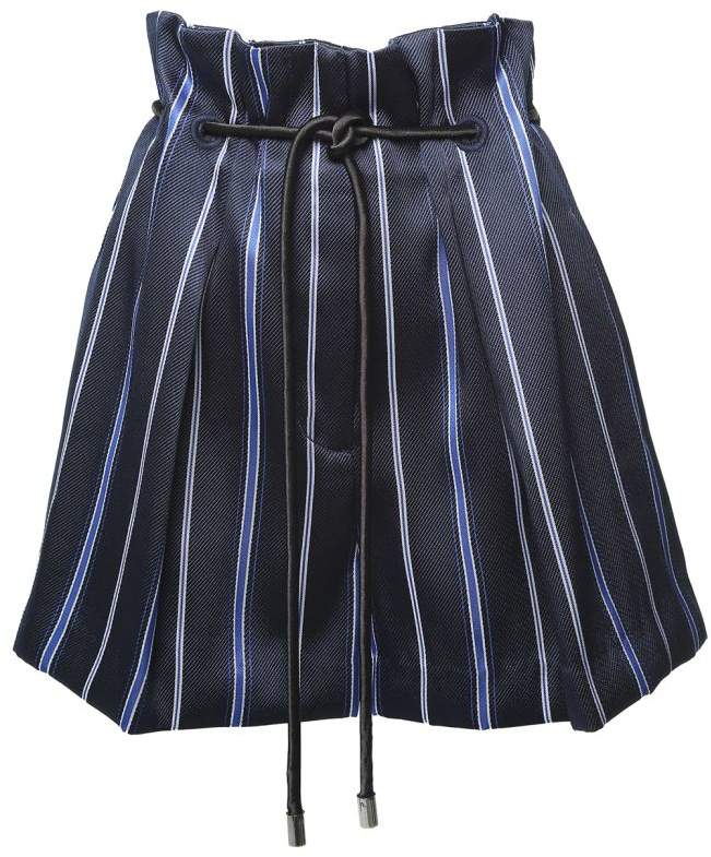 Origami Striped-jaquard Shorts