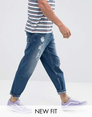Asos DESIGN Skater Jeans In Vintage Dark Wash Blue With Abrasions