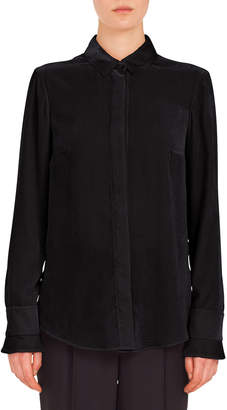 Akris Punto Long-Sleeve Button-Down Scuba Velvet Blouse