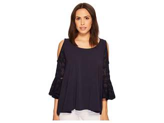 Nally & Millie Cold Shoulder Ruffle Sleeve Top Women's Clothing