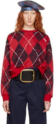 Charles Jeffrey Loverboy Red and Black Claes Argyle Crewneck Sweater
