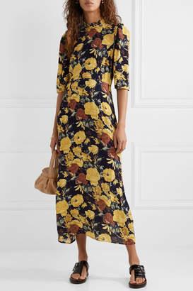 Sea Ella Ruffle-trimmed Floral-print Crepe Midi Dress - Yellow