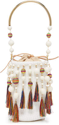 Rosantica Laura Beaded Tassel Woven Bucket Bag