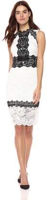 Bebe Women's Lace Midi Sheath Dress with Long Sleeves, White/Black