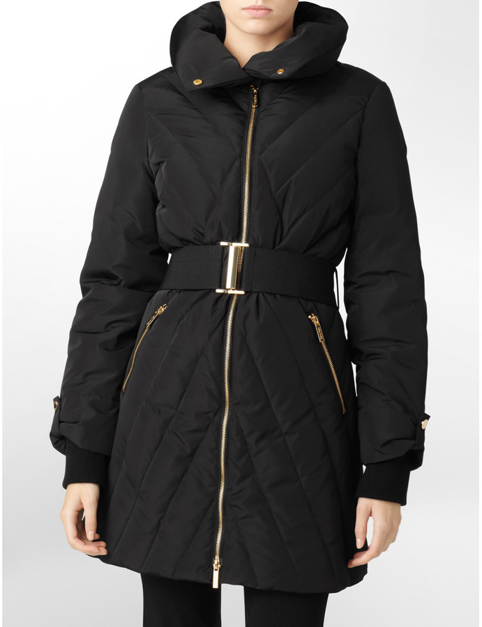 Calvin Klein Womens Exposed Gold Zip Belted Puffer Coat