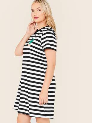 Shein Plus Embroidery Detail Striped Tee Dress