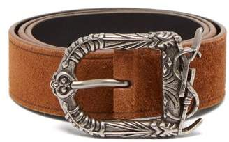 Saint Laurent Suede Belt - Womens - Tan