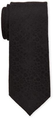 Isaac Mizrahi Black Mini Floral Silk Tie