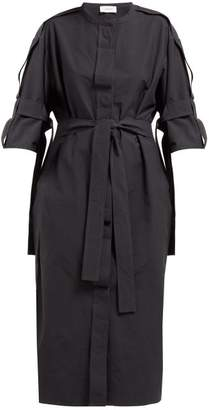 Lemaire Belted Cotton Blend Midi Dress - Womens - Dark Navy