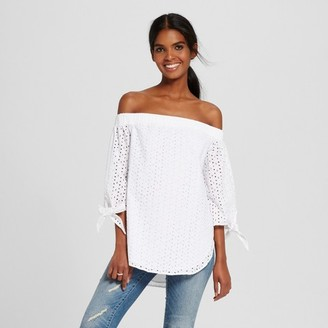Mossimo Women's Off The Shoulder Woven Top White - Mossimo $22.99 thestylecure.com