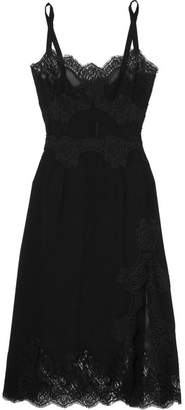 Dolce & Gabbana Lace-trimmed Silk-blend Georgette Chemise - Black