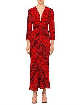 Rixo London Rose Long Sleeve V Neck Maxi Dress