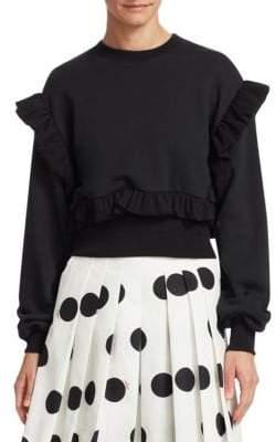 MSGM Women's Ruffle Sleeve Sweatshirt - Black - Size XS